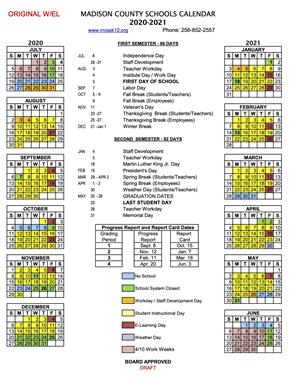 image of proposed academic calendar