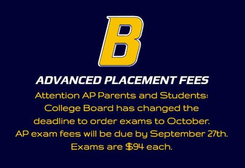 AP exam fees are due by 9/27/19.