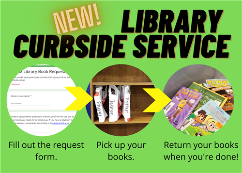 New Library Curbside Service! Fill out the request form. Pick up your books. Return your books when you're done!